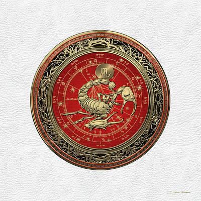 Digital Art - Western Zodiac - Golden Scorpio - The Scorpion On White Leather by Serge Averbukh
