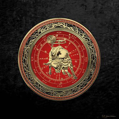 Western Zodiac - Golden Taurus - The Bull On Black Velvet Original