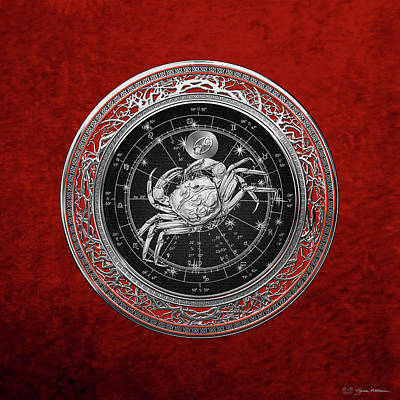 Western Zodiac - Silver Cancer - The Crab On Red Velvet Original