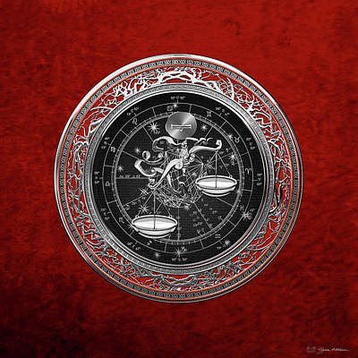 Digital Art - Western Zodiac - Silver Libra -the Scales On Red Velvet by Serge Averbukh