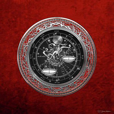 Digital Art - Western Zodiac - Silver Libra -the Scales On Red Velvet by Serge Averbukh