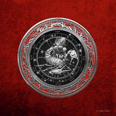 Digital Art - Western Zodiac - Silver Scorpio - The Scorpion On Red Velvet by Serge Averbukh
