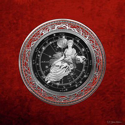 Digital Art - Western Zodiac - Silver Virgo - The Maiden On Red Velvet by Serge Averbukh