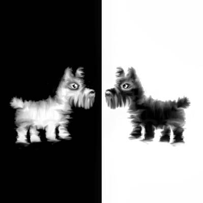 Scottie Drawing - Westie And Scottie Dog by Koala Chess