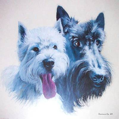 Scottish Dog Digital Art - Westie And Scotty Dogs by Charmaine Zoe