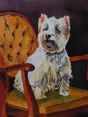 Westie Angel Dusty Art Print by Donna Pierce-Clark