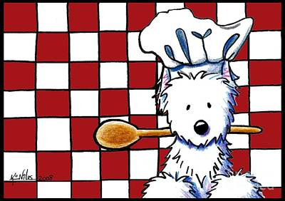 White Terrier Mixed Media - Westie Chef by Kim Niles