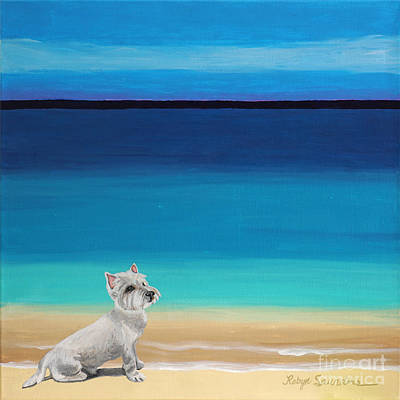Painting - Westie White Dog On The Beach by Robyn Saunders