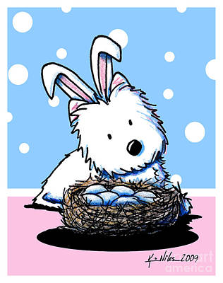 Westie Easter Rabbit Art Print by Kim Niles