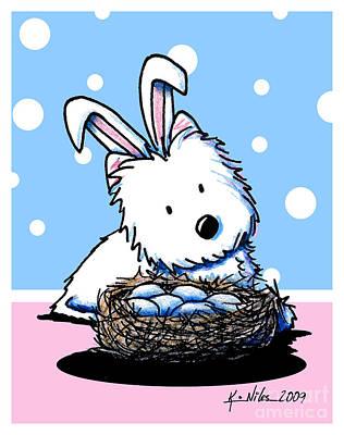 Kim Mixed Media - Westie Easter Rabbit by Kim Niles