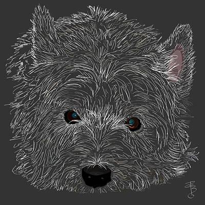 Breed Digital Art - Westie Face by Debra Baldwin