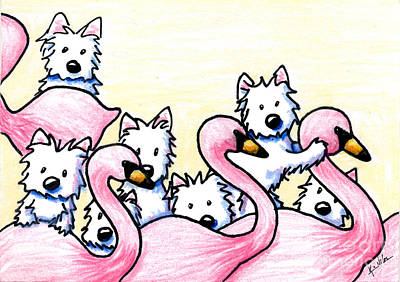 Flamingo Drawing - Westie Flamingo Dancers by Kim Niles