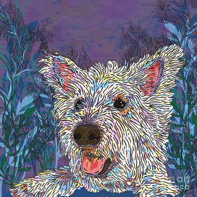 Westie Digital Art - Westie Fun by Lotti Brown