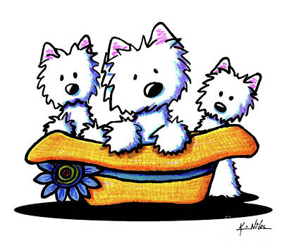Drawing - Westie Hat Trio by Kim Niles