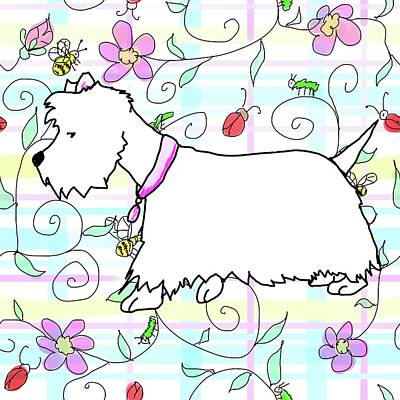 Digital Art - Westie In A Spring Plaid by Debra Baldwin