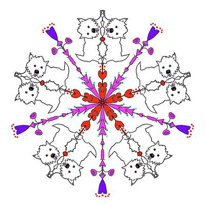 Digital Art - Westie Kaleidoscope by Debra Baldwin