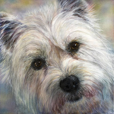 Dog Close-up Painting - Westie by Linnell Esler
