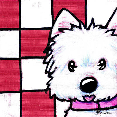 Kiniart Painting - Westie On Checks by Kim Niles