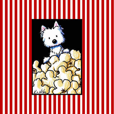 Westie Dog Drawing - Westie Popcorn Lover by Kim Niles