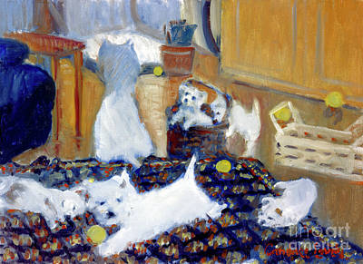 Painting - Westie Puppies by Candace Lovely