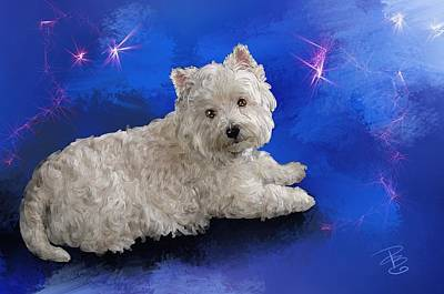 Digital Art - Westie Resting by Debra Baldwin