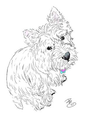 Digital Art - Westie Siting At My Feet by Debra Baldwin