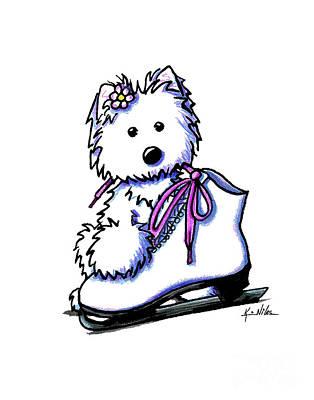 Westie Skater Girl Art Print by Kim Niles