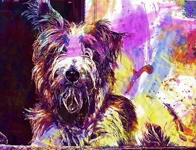 Pedigree Art Digital Art - Westie Terrier Dog Pedigree Happy  by PixBreak Art