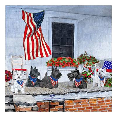 Painting - Westies And Scotties Await The Big Parade by Ann Kallal