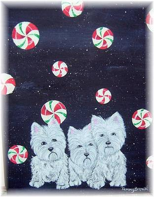 Westies In Candy Land Art Print by Tammy Brown