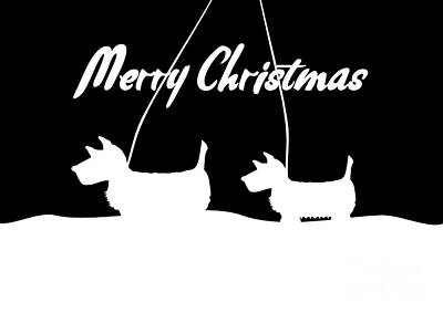 Digital Art - Westies White Merry Christmas by Barefoot Bodeez Art
