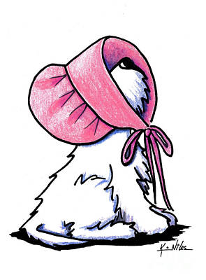 Westie Terrier Drawing - Westitude In A Pretty Pink Bonnet by Kim Niles