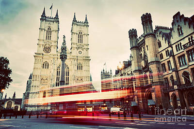 Photograph - Westminster Abbey Church, Red Bus Moving In London Uk. Vintage by Michal Bednarek
