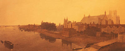 River View Painting - Westminster Abbey  by Peter de Wint