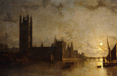 Midnight Painting - Westminster Abbey, The Houses Of Parliament With The Construction Of Westminster Bridge by Henry Pether