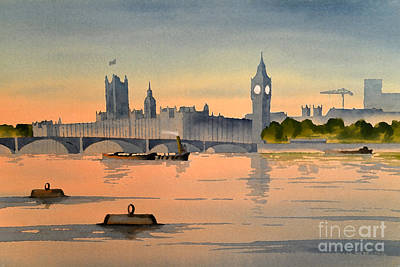 River View Mixed Media - Westminster And Big Ben 1 by Bill Holkham