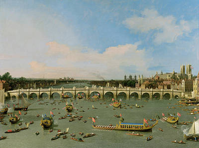 With Photograph - Westminster Bridge - London by Giovanni Antonio Canaletto