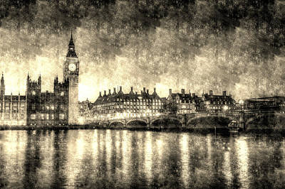 Photograph - Westminster Bridge And Big Ben Vintage by David Pyatt