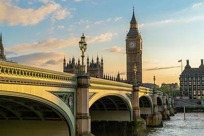 Historical Places Photograph - Westminster Bridge At Sunset by James Udall
