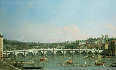 Westminster Bridge From The North With Lambeth Palace In Distance Art Print by Canaletto