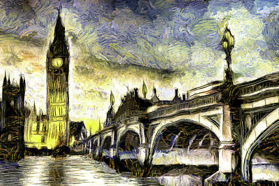 Big Ben Mixed Media - Westminster Bridge Van Gogh by David Pyatt