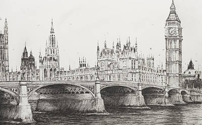 Seagull Drawing - Westminster Bridge by Vincent Alexander Booth