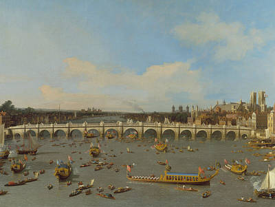 Painting - Westminster Bridge, With The Lord Mayor's Procession On The Thames by Canaletto
