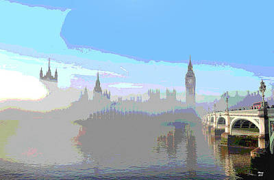 Tower Of London Mixed Media - Westminster In The Fog by Charles Shoup