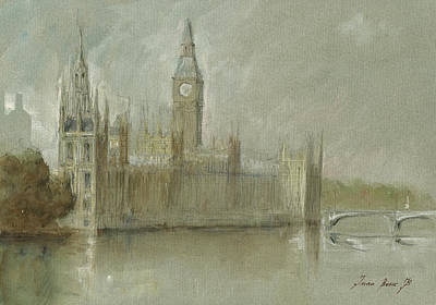 Big Ben Wall Art - Painting - Westminster Palace And Big Ben London by Juan Bosco