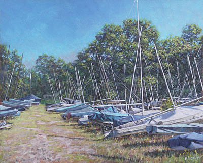 Painting - Weston Shore Boats At Yacht Club, Southampton by Martin Davey