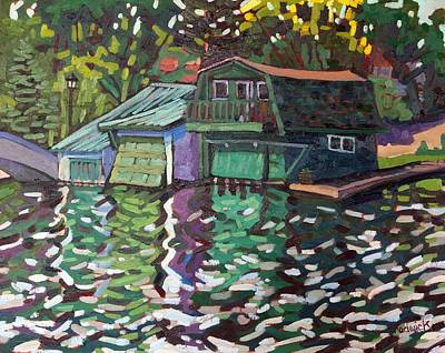 Boathouse Painting - Westport Boathouse by Phil Chadwick