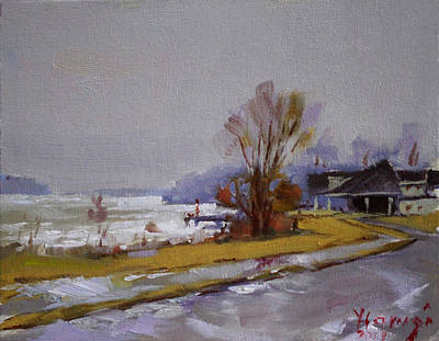Wet And Icy At Gratwick Waterfront Park Art Print by Ylli Haruni