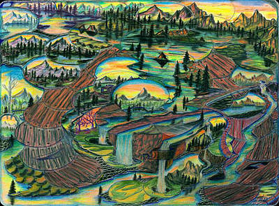 Impressionistic Landscape Drawing - Wet And Wild Mural by Brian Hansen