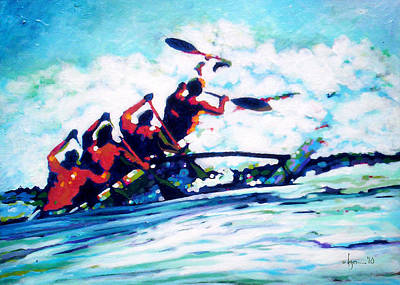 Outrigger Painting - Wet by Angela Treat Lyon